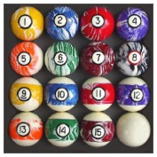 Pool Table Billiard Ball Set, Swirl/Marble Style