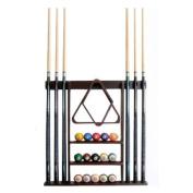 6 Pool Cue - Billiard Stick Wall Rack Made of Wood, Mahogany Finish