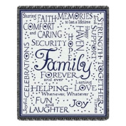 Family Forever Throw Blanket Navy