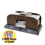 1-2 Deck Deluxe Wooden Card Shuffler w/ Two Free Decks Bicycle Playing Cards by Brybelly