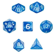 7 Die Polyhedral Dice Set - Horizon (Blue Sparkle) with Velvet Pouch By Wiz Dice