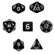7 Die Polyhedral Dice Set - Solid Black with Velvet Pouch By Wiz Dice