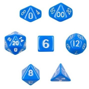 7 Die Polyhedral Dice Set - Solid Blue with Velvet Pouch By Wiz Dice