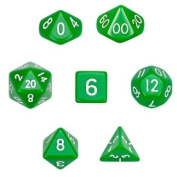 7 Die Polyhedral Dice Set - Solid Green with Velvet Pouch By Wiz Dice