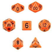 7 Die Polyhedral Dice Set - Solid Orange with Velvet Pouch By Wiz Dice