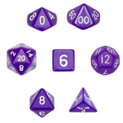 7 Die Polyhedral Dice Set - Solid Purple with Velvet Pouch By Wiz Dice