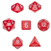 7 Die Polyhedral Dice Set - Solid Red with Velvet Pouch By Wiz Dice
