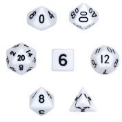 7 Die Polyhedral Dice Set - Solid White with Velvet Pouch By Wiz Dice