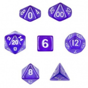 7 Die Polyhedral Dice Set - Translucent Purple with Velvet Pouch By Wiz Dice