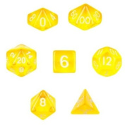 7 Die Polyhedral Dice Set - Translucent Yellow with Velvet Pouch By Wiz Dice