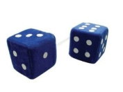 7.6cm Fuzzy Dice Blue with White Dots