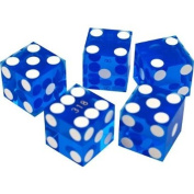 """19mm Polished """"A Grade"""" Serialised Set of 5 Blue Casino Dice with Razor Corners and Edges By Brybelly"""