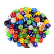 100+ Pack of Random Polyhedral Dice in Multiple Colours Plus Free Pouch Set by Wiz Dice