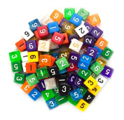 100+ Pack of Random D6 Polyhedral Dice in Multiple Colours By Wiz Dice