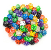 100+ Pack of Random D10 Polyhedral Dice in Multiple Colours By Wiz Dice
