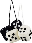 12 Pack Bell Automotive 33603 Hanging Fuzzy Dice - White & Black for Rearview Car Mirror