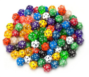 100+ Pack of Random D20 Polyhedral Dice in Multiple Colours By Wiz Dice