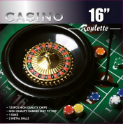 Da Vinci 41cm Roulette Wheel Game Set with 120 11.5-Gramme Chips, Full Size 3'x6' Felt Layout, and Rake