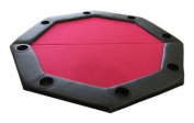 Padded Octagon Folding Poker Table Top with Cup Holders in Red
