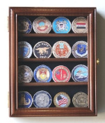 XS Casino Chip / Coin Display Case Cabinet Holders Rack w/ UV Protection, Walnut