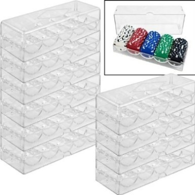 Brybelly Acrylic Poker Chip Rack/Tray with Covers (Set of 10), Clear