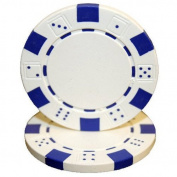 50 White Clay Composite Dice Striped 11.5 Gramme Poker Chips by Brybelly