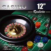 Da Vinci 30.5cm Roulette Wheel Game Set w/120 Chips, Felt Layout, & Rake