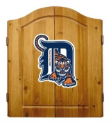 MLB Detroit Tigers Solid Pine Cabinet And Bristle Dartboard Set