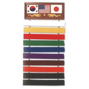 Ultimate Arms Gear Deluxe Martial Arts Karate Judo Ten Level Belt Wall Display Rack Holder Show Case Wood Plaque
