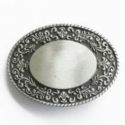 Engravable Scrolled Oval Belt Buckle