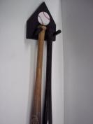 Wood Mini Bat Rack Display 2 Bats Black Baseball Collectible Hang Wall Mount