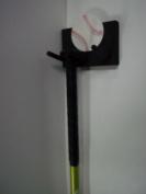 Wood Full Size Bat Rack Display Black 2 Bats Baseball Decal Wall Mount