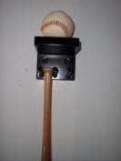 Baseball Mini Bat Rack Display 2 Bats Black 1 Ball Wood Holder Hang Wall Mount Storage Collectible Custom
