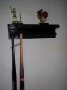 Wood Baseball Mini Bat Rack 6-11 Bats with Shelf Black Display Wall Mount