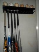 Wood Baseball Bat Rack Ball Holder 6-11 Bats 6 Balls Black