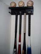 Wood Storage Large Full Size Bat Rack Holds 5 Bats and 3 Baseballs Black