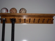 Wood Baseball Softball Bat Rack 6-11 Full Size Bats 6 Balls Natural Stain
