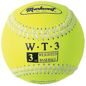 Markwort Weighted 22.9cm Baseballs-Leather Cover (Individually Boxed), Optic Yellow