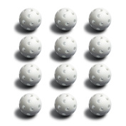 12 White Poly Baseballs (Regulation Size) by Crown Sporting Goods