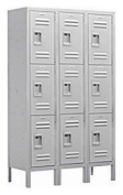 Extra Wide Standard Metal Locker - Triple Tier - 3 Wide - 1.8m High - 45.7cm Deep - Grey - Assembled
