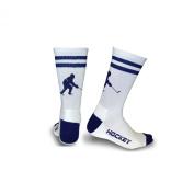 Hockey Player Half Cushioned Crew Socks - Blue/White