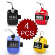 (Price/4 pcs)GOGO Assorted Colour Hand Tally Counter, Plastic Tally Counter Clicker