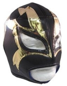 SHOCKER Adult Lucha Libre Wrestling Mask (pro-fit) Costume Wear - Black/Gold
