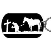 Cowboy praying at cross Dog Tag with 76.2cm chain necklace Great Gift Idea