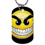 Creepy sinister Smiley Face Dog Tag with 76.2cm chain necklace Great Gift Idea
