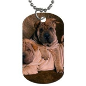 Shar pei puppies Dog Tag with 76.2cm chain necklace Great Gift Idea