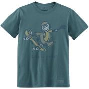 Life is Good Boy's Crusher Tee, One Hand Skateboard, Spruce Green, X-Large