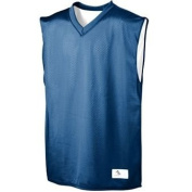 YOUTH Tricot Mesh/Dazzle Reversible Jersey - NAVY and White - MEDIUM