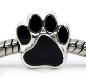 Silver Plated Black Paw Print Enamel Bead Charm Spacer Bead Fits European Pandora Troll Other Type Bracelet