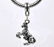 Antique Silver Horse Dangle Bead Charm Spacer Bead Fits European Pandora Troll Pugster Other Type Bracelet